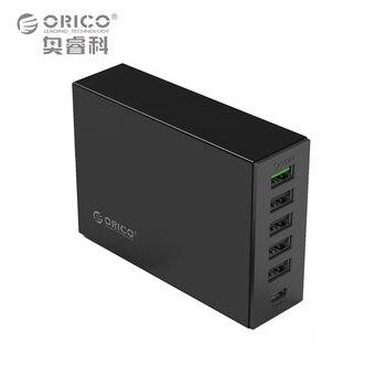 Tipo-c QC2.0 Cargador Rápido, orico 6-puertos cargador 5v2. 4a 9v2a 12v1. 5a tipo-c samsungmore 3.1a cargador de teléfono móvil para el iphone
