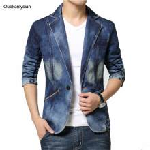 Ouekanlysian Denim Blazer Men Light Washed Jean Blazer Jacket Slim Fit Long Sleeve One Button Casual Denim Coat Blue M-4XL