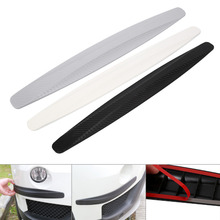 2017 New 1 Pair Carbon Fiber Front&Rear Bumper Protector Corner Guard Scratch Sticker Black/White/Gray(China)
