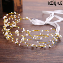 Metting Joura Bohemian Vintage Wedding Bridal Cream Pearl Knitted Braided Long Headband Gold Braided Hairband Hair Accessories