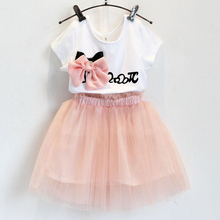 Girls Dress Brand New Summer Clothing Collection Bowknot White T-Shirt + Dress 2 PC  Suit Children   3-7 T