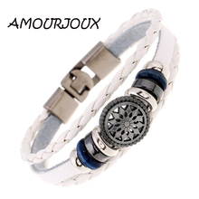 AMOURJOUX Pattern Charms Braided Brown White Black Leather Wristband Bracelet For Women Men Charm Bracelets Male Female
