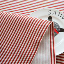 Korean Style Cotton & Linen Table Cloth Red  Stripe Table Cover Pastoral Tablecloth Table Cover Home Party Decor