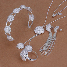 Selling   silver plated jewelry sets female elegant rose flower pendant necklace bangles ring Stud Earrings S298