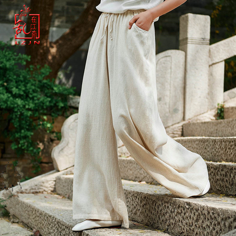 LZJN Summer Solid Color Loose Pants 2019 New Women Vintage Elastic Waistband Cotton Linen Wide Leg Full Length Pants with Pocket