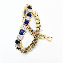 New Spring High Quality Brand Gold color Zircon Bracelet Sapphir Montana  Gem Cubic Zirconia red Tennis Jewelry For Women