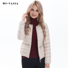 MS VASSA Ladies jacket 2017 new fashion with pearl decoration at neck Women white duck down jacket plus over size S-7XL(China)