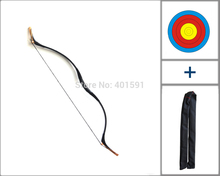 a wood fiberglass target recurve hunting longbow 45lbs w/black snakeskin target paper and bow bag