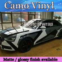 2017 Pixel Camo Vinyl Black white grey Car Wrap Sticker Big Arctic Camouflage Film Car Sticker Air Free 1.52x30m/Roll 5x98ft(China)