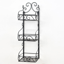 Wrought iron wall hanging bath receive multilayer shelf basin bathroom rack