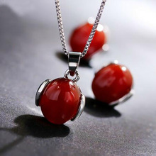 Perfect Charming Red Carnelian Necklace Stud Earrings Color Real White Gold Jewelry Set