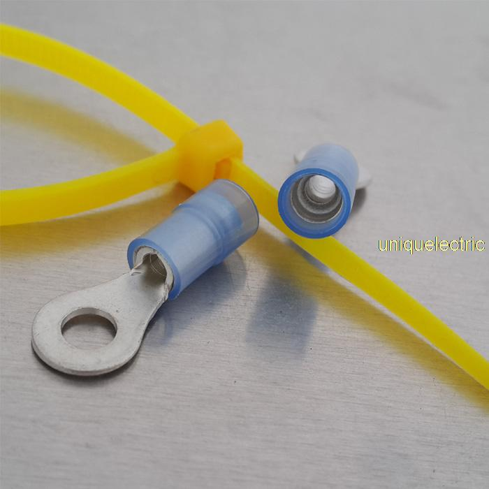 100 X 14-16 AWG #10 BLUE DOUBLE CRIMP RING TERMINAL<br>