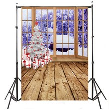 5 x 7ft Background Christmas Tree Snow Window Studio Backdrop Photography Photo 2.1x1.5m Fashion Decoration(China)