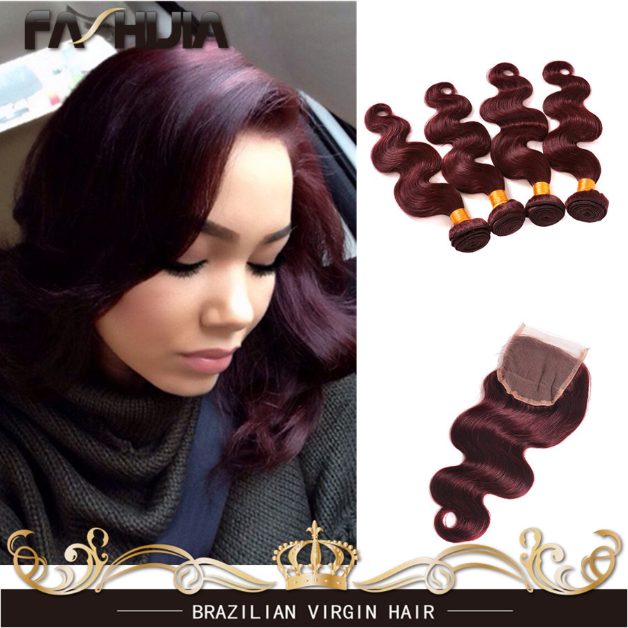 7A Brazilian Virgin Hair Body Wave 4 Bundles Brazillian Body Wave 99J Burgundy Brazilian Hair Weave Bundles With 4x4 Closure<br><br>Aliexpress