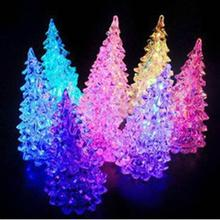 Beautiful Christmas Ornament Ice Crystal Colorful  Christmas Tree Changing LED Desk Decor