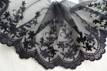 Black Embroidered Tulle Lace Floral Lace Trim for Altered Couture, Purse bag, Black dress lace 2 yards(China)