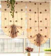 japanese style cotton material Pull-up balloon curtain daisy embroidered decorative kitchen curtain for home window(China)