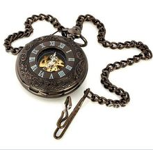 (8005) 6pcs/lot vintage black Engraved Mechanical Pocket Watch.roman number free shipping.(China)