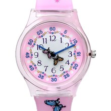 WILLIS Women Watches Top Brand Luxury Ladies Watch Butterfly Lovely Pink Silicone Strap Students Girls Quartz Wristwatch NATATE(China)