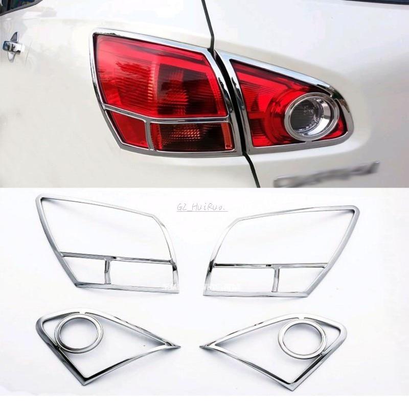 FOR Nissan Qashqai 2007 - 2010 Chrome Tail Light Covers Surrounds Trim Set<br>