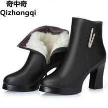 Buy 2017 new woman ankle boots ladies genuine leather snow boots high-heeled fashion 34# red boots really winter Ding Shoes for $35.20 in AliExpress store