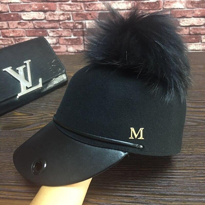 Six petals hat, baseball wool cap single black  metal logo  large bulb equestrian cap hat<br>