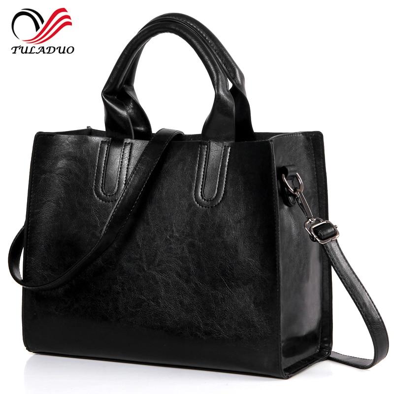 2017 New Fashion Women Leather Black Tote Large Handbag Famous Brand Big Casual Shoulder Bags Vintage European Messenger Bag<br><br>Aliexpress