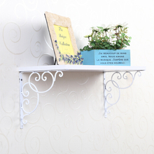 2pcs Wall Mounted Floral Style Shelf Brackets Store Shop Projector Foldable Shelf Bracket for Bookrack / Calpboard