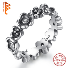 Authentic 100% 925 Sterling Silver Rings with Elegance Field of Daisy Flower Compatible With European Original Same Ring Jewelry(China)