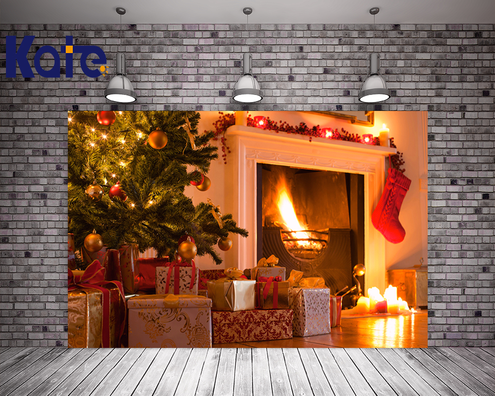 Kate Christmas Photo Background Room Wood Floor Gift Box Backdrops Fireplace Red Sock Christmas Tree For Children Photo Studio<br>