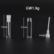 MUB - 100pcs/lot 1ml Glass Vials Mini Empty Laboratory Bottles With Plastic Stopper Clear Perfume Liquid Oil Fragrance