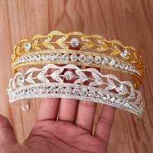 Vintage Silver Gold Clear Glass Crystal Rhinestones Wedding Tiara Bridal Queen Princess Pageant Crown Birthday Gift