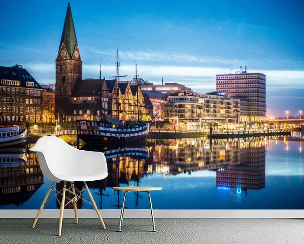 HD City Nnight view Photo Wall Murals Nonwoven-wallpaper For Bedroom Living room Decor Wall covering<br>