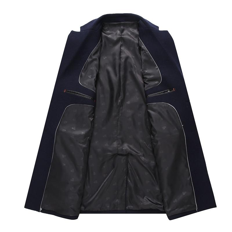 High-grade Men Wool Jacket Fashion Brand Clothing Men Wool Coat Single-breasted Pea Coats Men Long Wool & Blends Winter Coat Men
