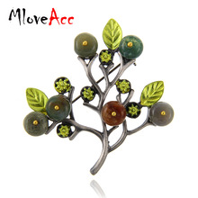 MloveAcc Wholesale Vintage Women Brooches & Pins Jewelry Tree Twig Brooch Stone Beads Fashion Anniversary Souvenirs(China)