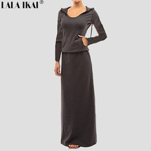 2017 Autumn Long Pattern Tshirt Dresses Women Short Sleeve Hooded Tunic Cotton Maxi Dress Floor-Length Straight Dress QWC0098-45(China)