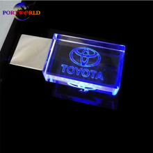 Transparent USB Stick 8GB 16GB 32GB Flash Drive TOYOTA Memory USB Drive 2.0 Crystal Car Logo LED with 3 Colors