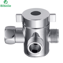 "SBLE G1/2"" Three Head Function Switch Adapter Control Valve 3 Way Diverter Toilet Bidet Shattaf Valve Tee Connector Shower Head(China)"