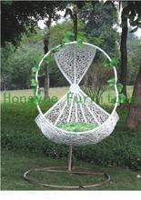 Patio white rattan hanging chair,outdoor furniture
