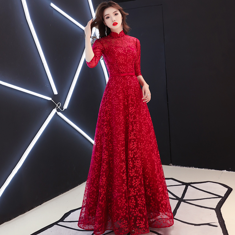 Wine Red Small High Neck A Line Illusion Long Evening Dresses 2019 Lace Half Sleeves Zipper Formal Evening Dress LF161