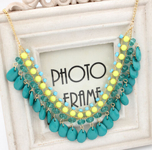 SPX6162 jewellery Fashion Elegant Luxurious Collar Water Drop Big Chain Gem Stone Resin Bohemia Necklaces&Pendents