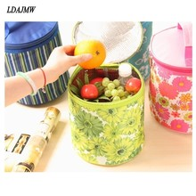 LDAJMW Aluminum Foil Flowers Insulation lunch Thermal Storage Bag Food Cylinder Picnic Organizers Fruit Snacks Ice Cooler Bags(China)