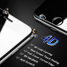 4D Screen Protector for iPhone 6 6s plus 7 7 plus, New 3D Upgrade Cold Carving Full Cover 9H Quality Color Tempered Glass