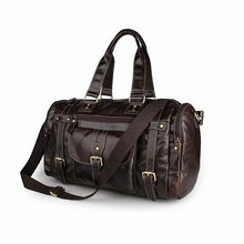 Vintage Crazy Horse Genuine Leather Travel bag men duffle luggage travel bag Leather Large Weekend Bag Overnight Tote Big LI-900
