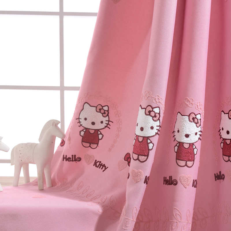Cute Princess Room Hellokitty Cat Cartoon Pink Girl Children Bedroom Curtains For Living Room Cortinas Drapes WP299C