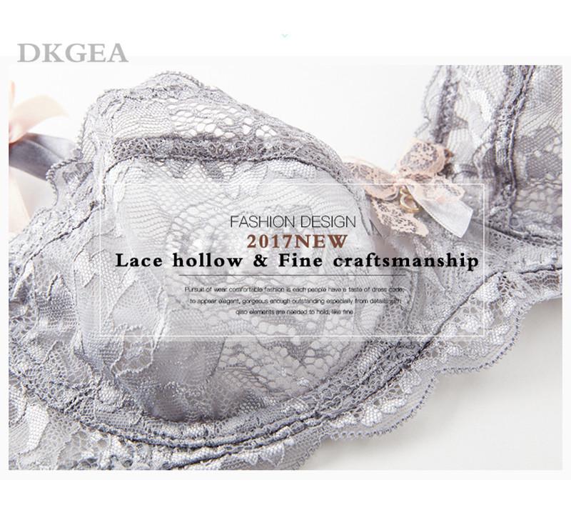 Hot Sexy Bra Set Plus Size 36 38 40 Ultrathin Underwear Women Set White Lace Bra Embroidery Transparent Lingerie Brand Brassiere 5
