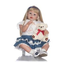 70cm Silicone Reborn Baby Doll Toys Lifelike 28inch Princess Toddler Girl Reborn Dolls Toys With Bear Plush Toy Cloth Shop Model(China)