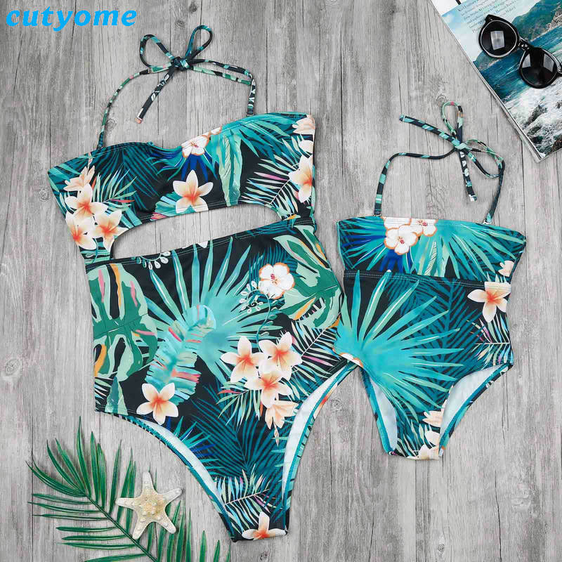 Family Matching Mother And Daughter Swimwear One-pieces Hollow Out Princess Kids Mommy And Me Beach Swimsuits Outfits Clothing (3)