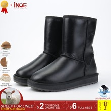 INOE Classic 양피 Leather 울 퍼 안감은 은은한 mid-calf women winter 눈 boots 대 한 women basic 겨울 shoes 방수 black(China)