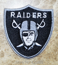 Hot Sale ! Free Shipping ~ Raiders Logo Iron On Patches, Made of Cloth Guaranteed 100% Quality Appliques Oakland